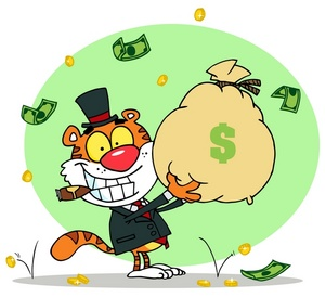 clip_art_illustration_of_a_tiger_smiling_with_a_cigar_holding_a_bag_of_money_0521-1001-2913-3921_SMU