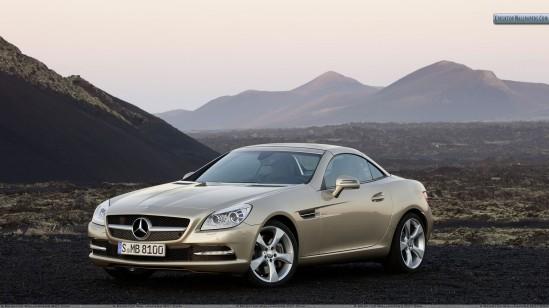 golden-mercedes-benz-slk-350-front-side-view
