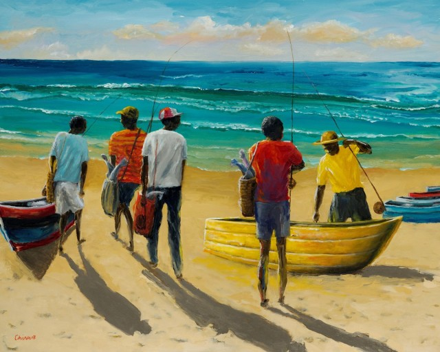 Yellow-Finishing-Boat.-Oils-on-Canvas.-80x100cms