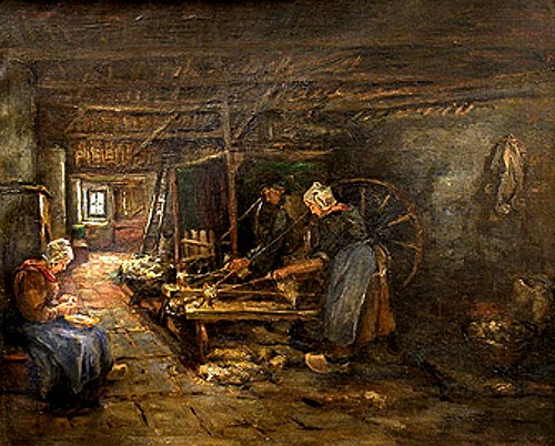 Dutch Interior with Wool Spinners, 1893, Mary Dignam
