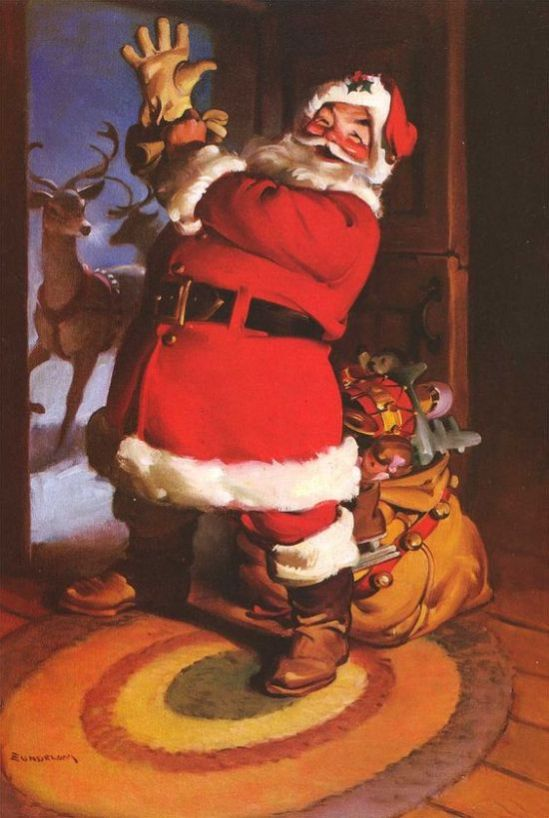 1930c-Santa-on-round-rug-with-Rudolph-at-door